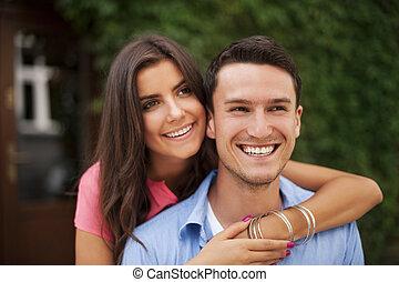 regarder, mignon, direction, couple, même