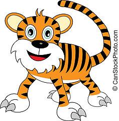 regarder, mignon, tigre, dessin animé, heureux