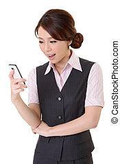 regarder, mobile, message, téléphone