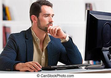 regarder, moniteur ordinateur, homme