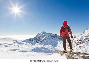 regarder, montagne, alpiniste, paysage, neigeux