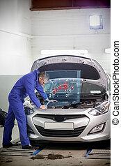 regarder, moteur, mécanicien voiture