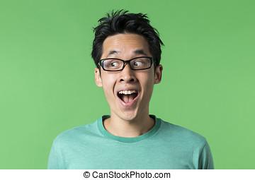 regarder obliquement, excité, chinois, homme