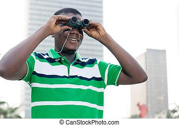 regarder, opportunities., homme affaires, jeune, nouveau