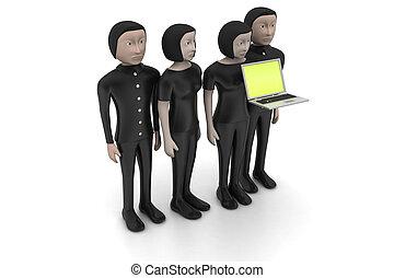 regarder, ordinateur portable, equipe affaires