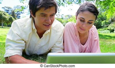 regarder, ordinateur portable, quoique, sourire, herbe, couple, mensonge