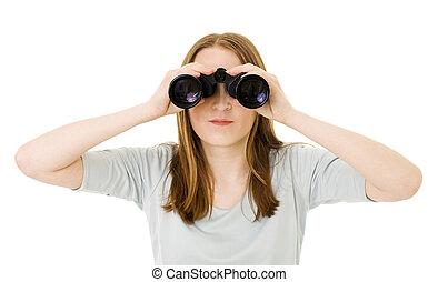 regarder, paire, femme, lunettes