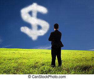 regarder, pensée, argent, marque, homme affaires, nuage