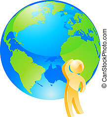 regarder, pensée, globe, concept