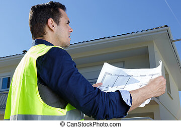 regarder, plans bâtiment, homme, site, architecte, construction