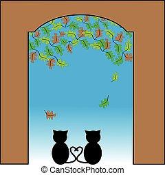 regarder, portail, dehors, amour, chat