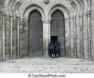 regarder, porte, religieuses, église