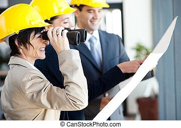 regarder, projet, directeur, site construction