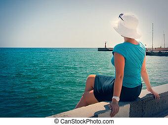 regarder, séance, jeune, dock, mer, girl