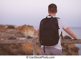 regarder, sac à dos, mâle, touriste, ocean.