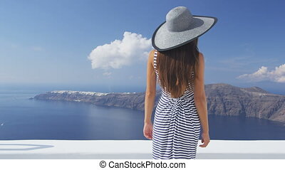 regarder, santorini, voyage vacances, femme