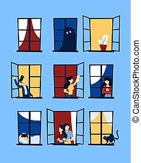 regarder, set., dehors, fenêtre, gens