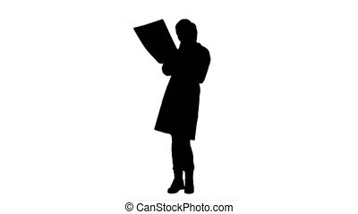 regarder, silhouette, docteur féminin, xray, brain., humain