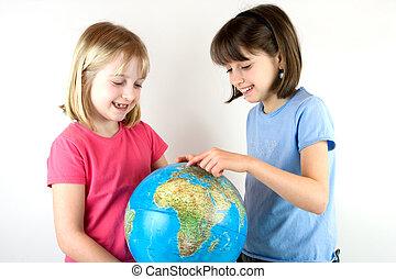 regarder, soeurs, globe, deux