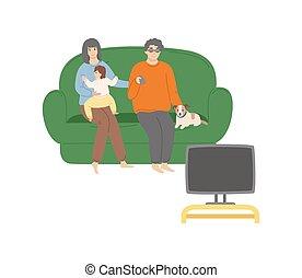 regarder, sofa, gens, tv, famille, vecteur, séance