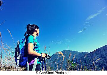 regarder, sommet montagne, désert, grimpeur