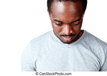 regarder, songeur, bas, africaine, portrait, homme