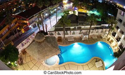 regarder, timelapse, boutique, hôtel, bas, luxe, nuit, sur, piscine, natation