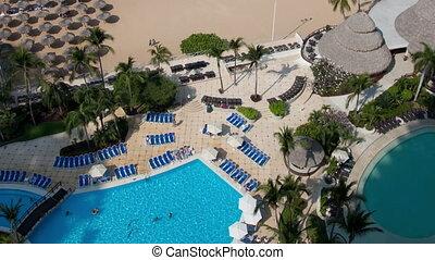 regarder, timelapse, mexique, piscine, hôtel, bas, luxe, natation, sur, acapulco