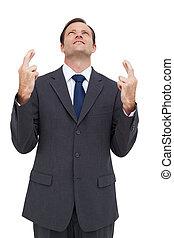 regarder, traversé, homme affaires, haut, doigts
