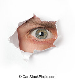 regarder travers, trou, papier, oeil