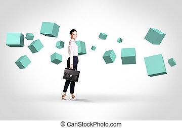regarder, turquoise, affaires femme, cubes