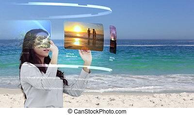 regarder, vacances, femme, activités