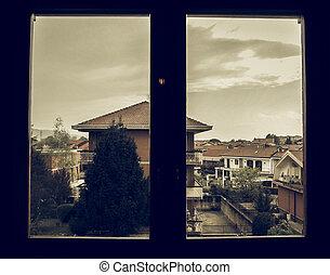 regarder, vendange, vue fenêtre