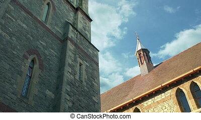 regarder, vieille église, jour, bâtiments, haut, ensoleillé