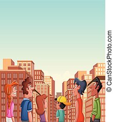regarder, ville, groupe, grand, gens