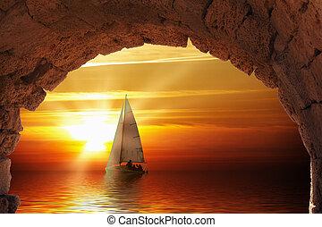 regata, em, pôr do sol