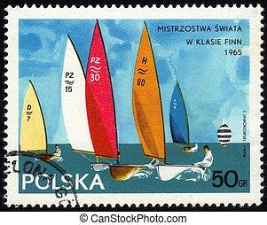 regatta class yachts Finn - POLAND - CIRCA 1965: a stamp...