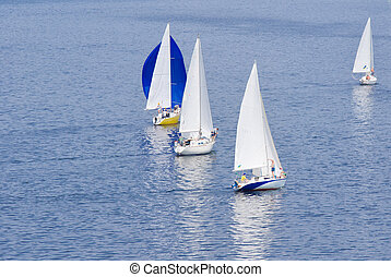 Regatta on Dnipro river at summer season