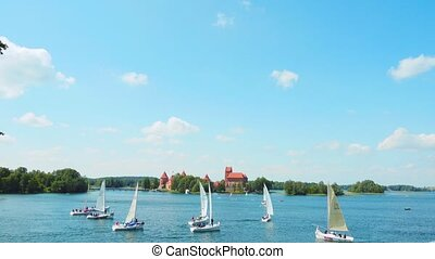 Regatta on the lake near Trakai Castle in Trakai, Lithuania
