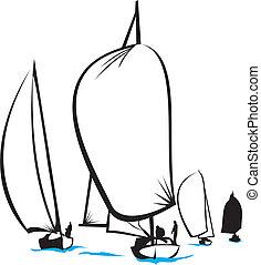 regatta - on the sea - full sail, sailing boat, sea...