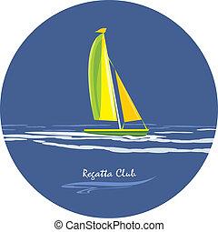 regatta, pictogram, ontwerp, club.