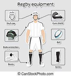 Regby player uniform and equipment - Regby player uniform...
