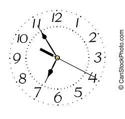 regeel klok, achtergrond, -, vrijstaand, gezicht, concept, witte