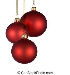 regeling, baubles, rood, kerstmis
