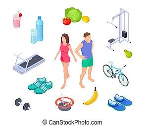 regelmatig, activity., lifestyle., dieet, goed, schoentjes, man, nutrition., vrouw, isometric, oefeningen, gewoonten, boerderij, gezonde , sportende, voedingsmiddelen