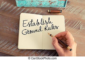 regeln, text, handgeschrieben, establish, boden