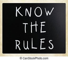 regels, bord, -, krijt, weten, witte , met de hand geschreven
