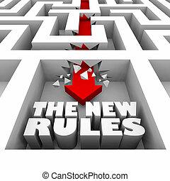 regels, illustratie, breken, muren, door, nieuw, doolhof, 3d