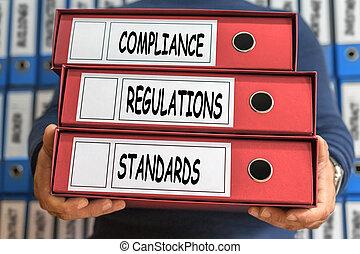 regelungen, erfüllung, standards, begriff, words., büroordner, concept., ring, binders.