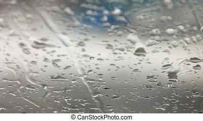 regen fällt, auf, auto- fenster